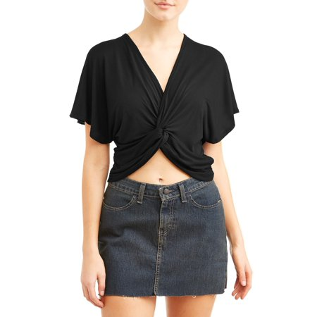 Juniors' Twist Front Flutter Sleeve Blouse