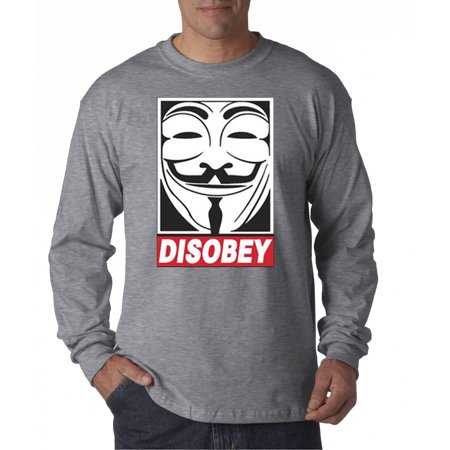 Trendy USA 031 - Unisex Long-Sleeve T-Shirt Disobey V For Vendetta Anonymous Fawkes Mask Large Heather Grey](Anonymous Mask Sale)