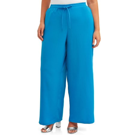 French Laundry Women's Plus Size Wide Leg Palazzo Soft Pants with Drawstring Waist Plus Size Wide Leg Drawstring Pant