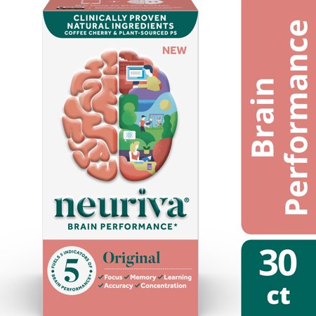 NEURIVA Original (30 Count) Fast-Acting Brain Support Supplement - Helps Support 5 Indicators of Brain Performance: Focus, Memory, Learning, Accuracy & Concentration, with Neurofactor
