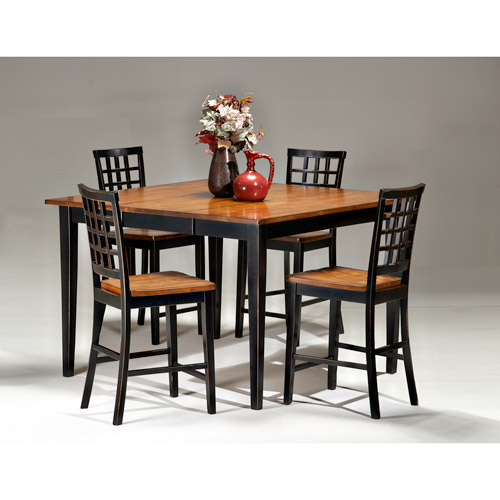 Imagio Home Arlington Gathering Height Dining Table with Leaf, Black and Java by