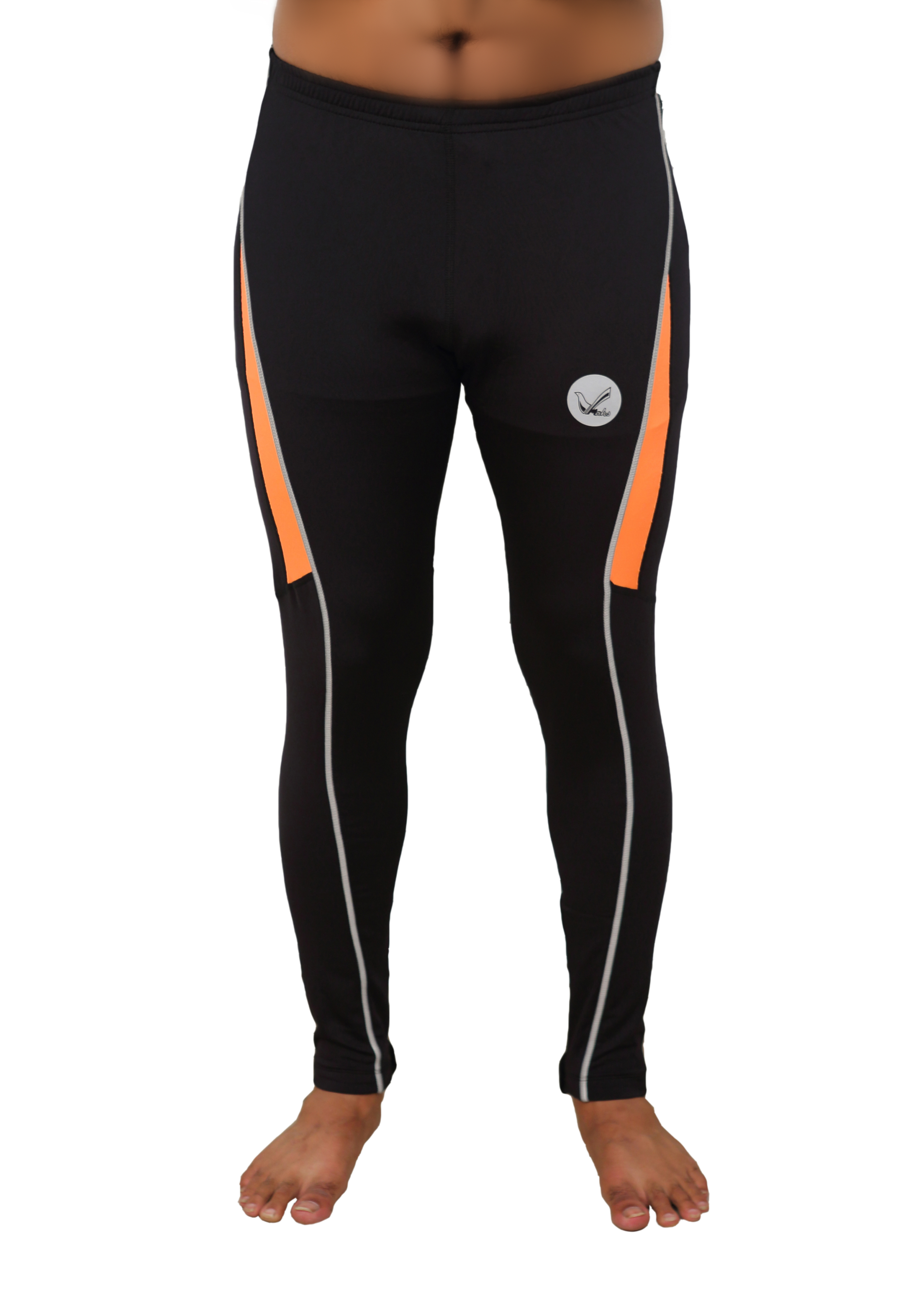 Men's Elite Design Fall Winter Thermal Running Tights Long Pants With Ankle Zipper and Reflective Elements