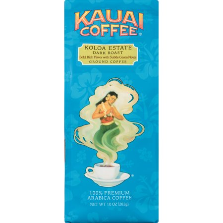 Kauai Coffee Koloa Estate Hawaiian Ground Coffee, Dark Roast, 10 Ounce -