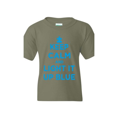 c552a2514 J_H_I - Keep Calm and Light It Up Blue Autism Awareness Support Gift for  Survivor Friend Unisex Youth Kids T-Shirt Tee Clothing - Walmart.com