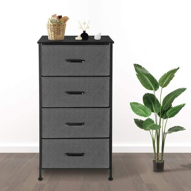 KingSo 4 Drawer Dresser for Bedroom, Tall Vertical Organizer for Baby Nursery Kids Toddler, Fabric, Steel Frame, Wood Top, Easy Pull, Gray/Black/Brown
