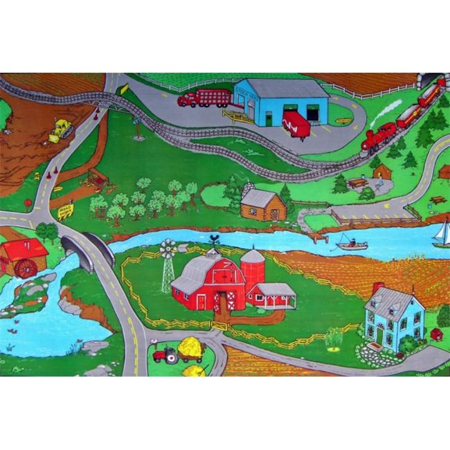 Custom Printed Rugs Farm 3 ft.  x 5 ft.  Drive The Roads and See The Sights Rug