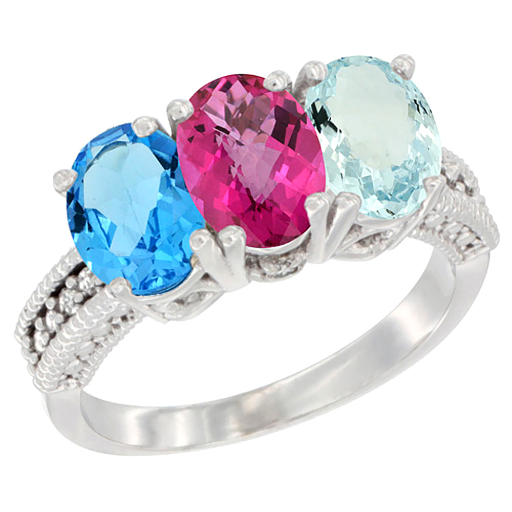 14K White Gold Natural Swiss Blue Topaz, Pink Topaz & Aquamarine Ring 3-Stone 7x5 mm Oval Diamond Accent, sizes 5 10 by WorldJewels
