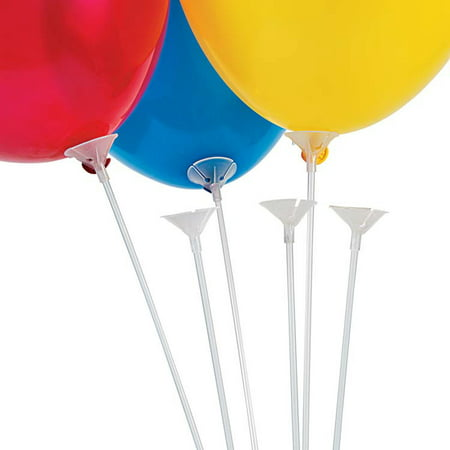 Clear Balloon Sticks with Cups (144 Count) (Balloons With Designs)