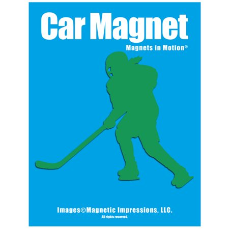Ice Hockey Player Female Car Magnet Green
