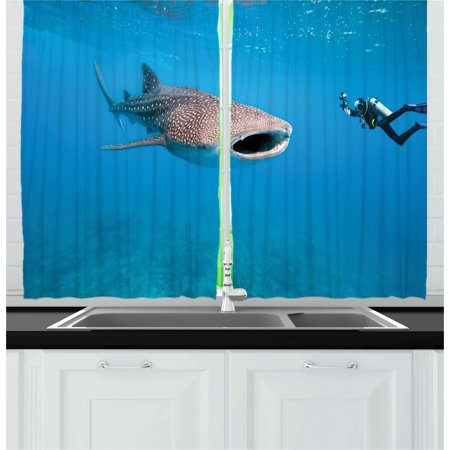 Shark Curtains 2 Panels Set, Giant Whale Shark and Underwater ...