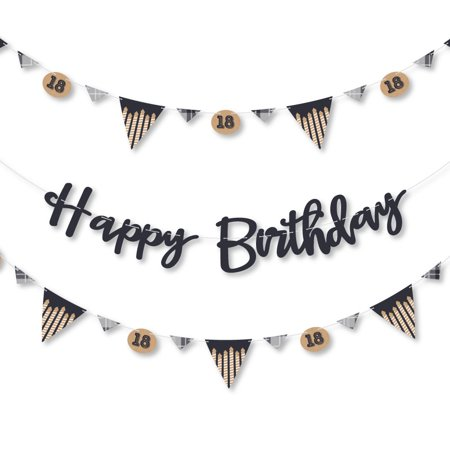 18th Milestone Birthday - Time to Adult - Birthday Party Letter Banner Decoration - 36 Banner Cutouts and Happy Birthday (18th Birthday Decoration)