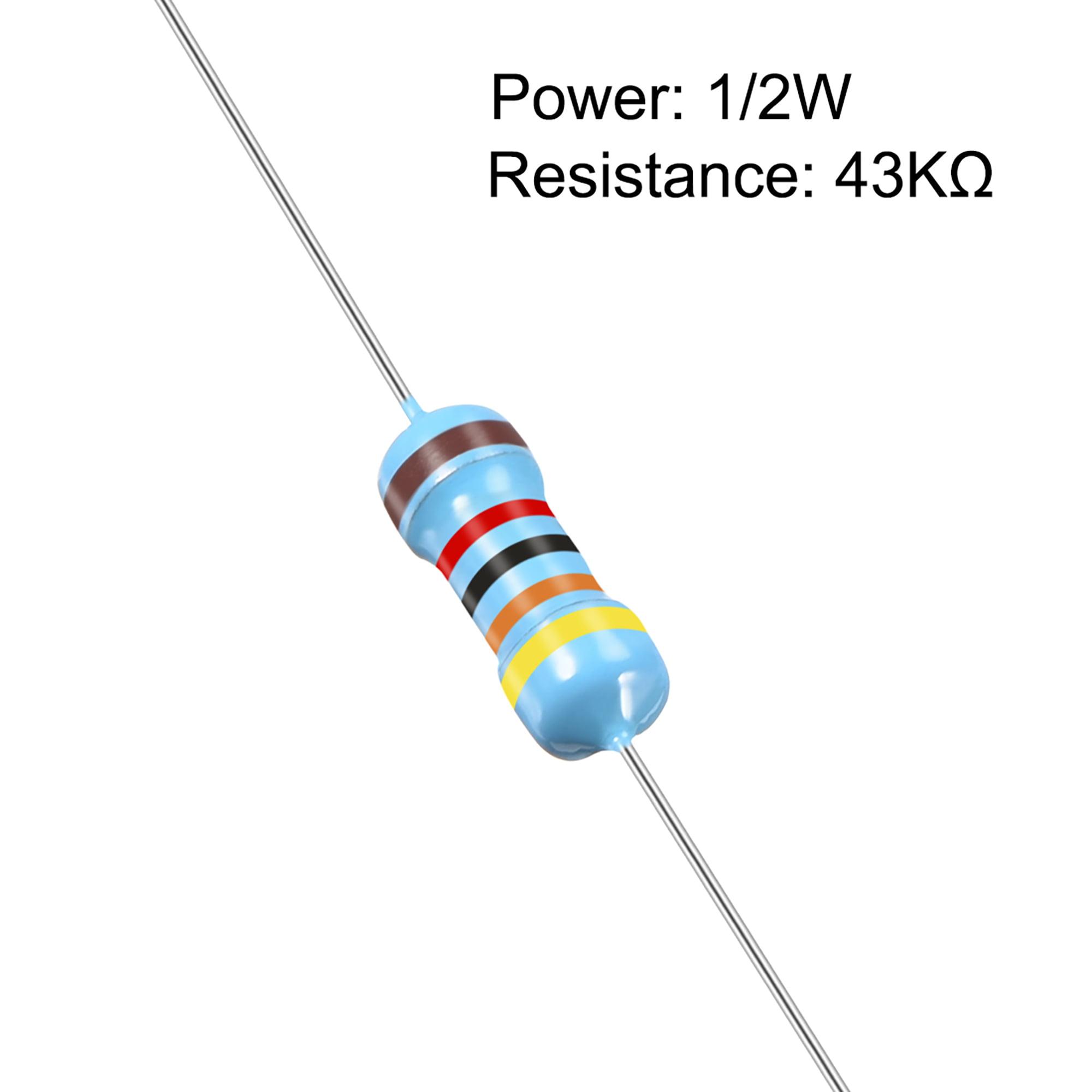 50 pcs Metal Film Resistors 43K Ohm 0.5W 1/2W 1% Tolerances 5 Color Bands - image 1 of 4