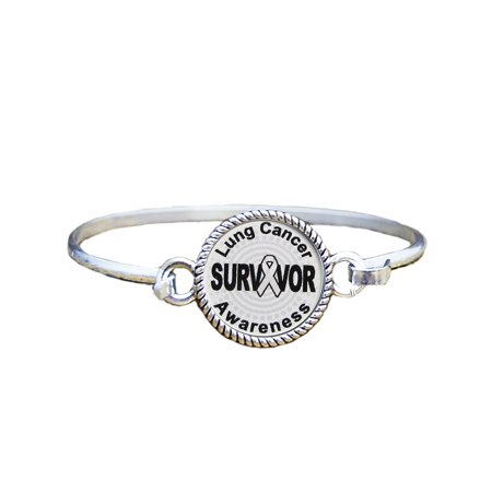 Lung Cancer Awareness Survivor Silver Plated Bracelet Jewelry](Lung Cancer Symbol)