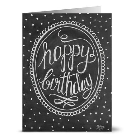 24 Chalkboard Note Cards - Framed Happy Birthday - Blank Cards - Kraft Envelopes Included
