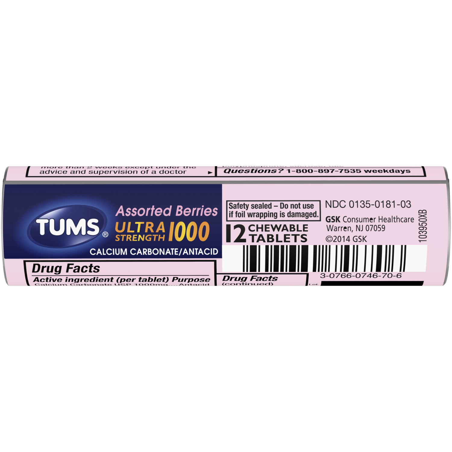 (4 Pack) TUMS Antacid Chewable Tablets for Heartburn Relief, Ultra Strength, Assorted Berries, 12 Tablets