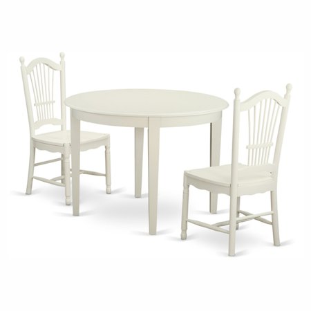 East West Furniture Boston 3 Piece Round Dining Table Set with Dover Wooden Seat Chairs