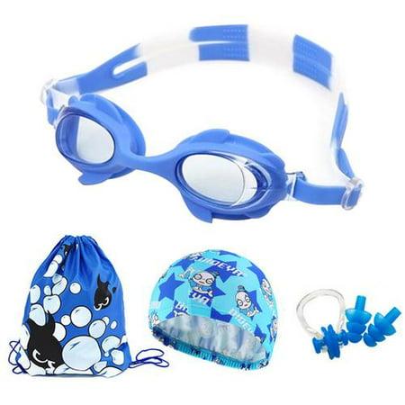 Swim Cap Swim Goggles Set, Anti Fog Swimming Accessories with Ear Plugs Waterproof Swimming Cap for Kids Girls (Accessories Swim Caps)