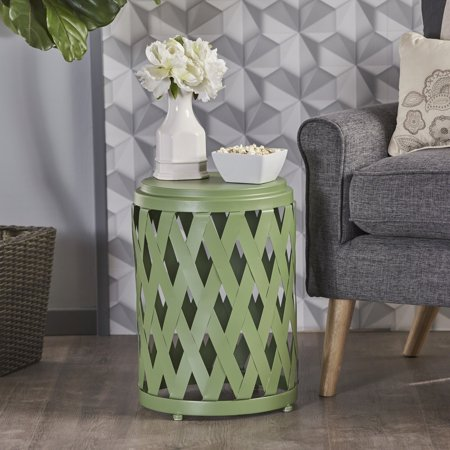 Noble House Bonnie Indoor 12 Inch Diameter Lattice Iron Side Table, Matte Green