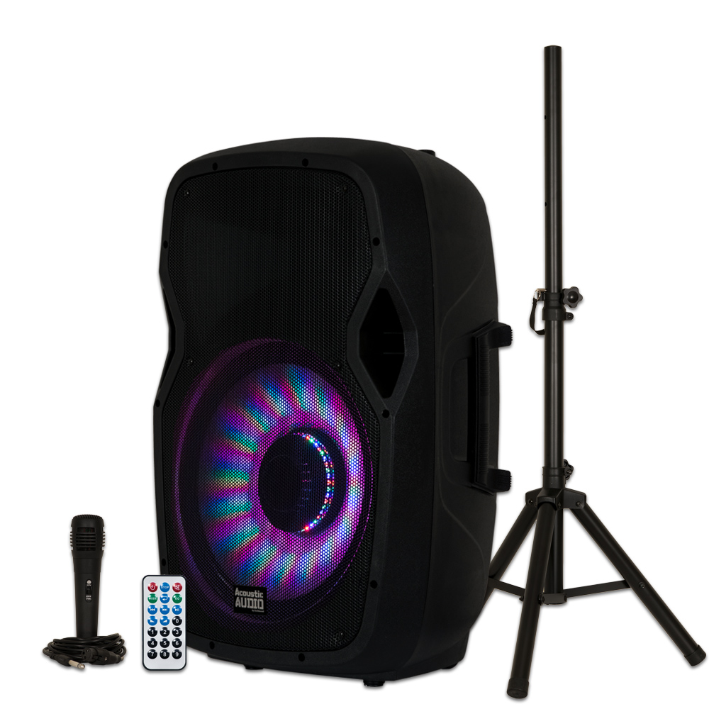 """Image of Acoustic Audio AA15LBS Powered 1000W 15"""" Bluetooth Flashing LED Speaker with Mic and Stand"""