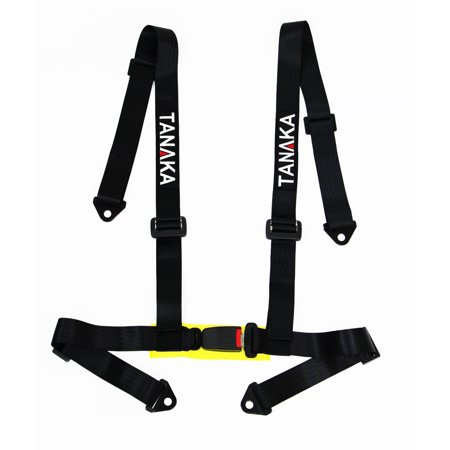 Impact Racing Belts (2 X TANAKA UNIVERSAL RED 4 POINT BUCKLE RACING SEAT BELT HARNESS)