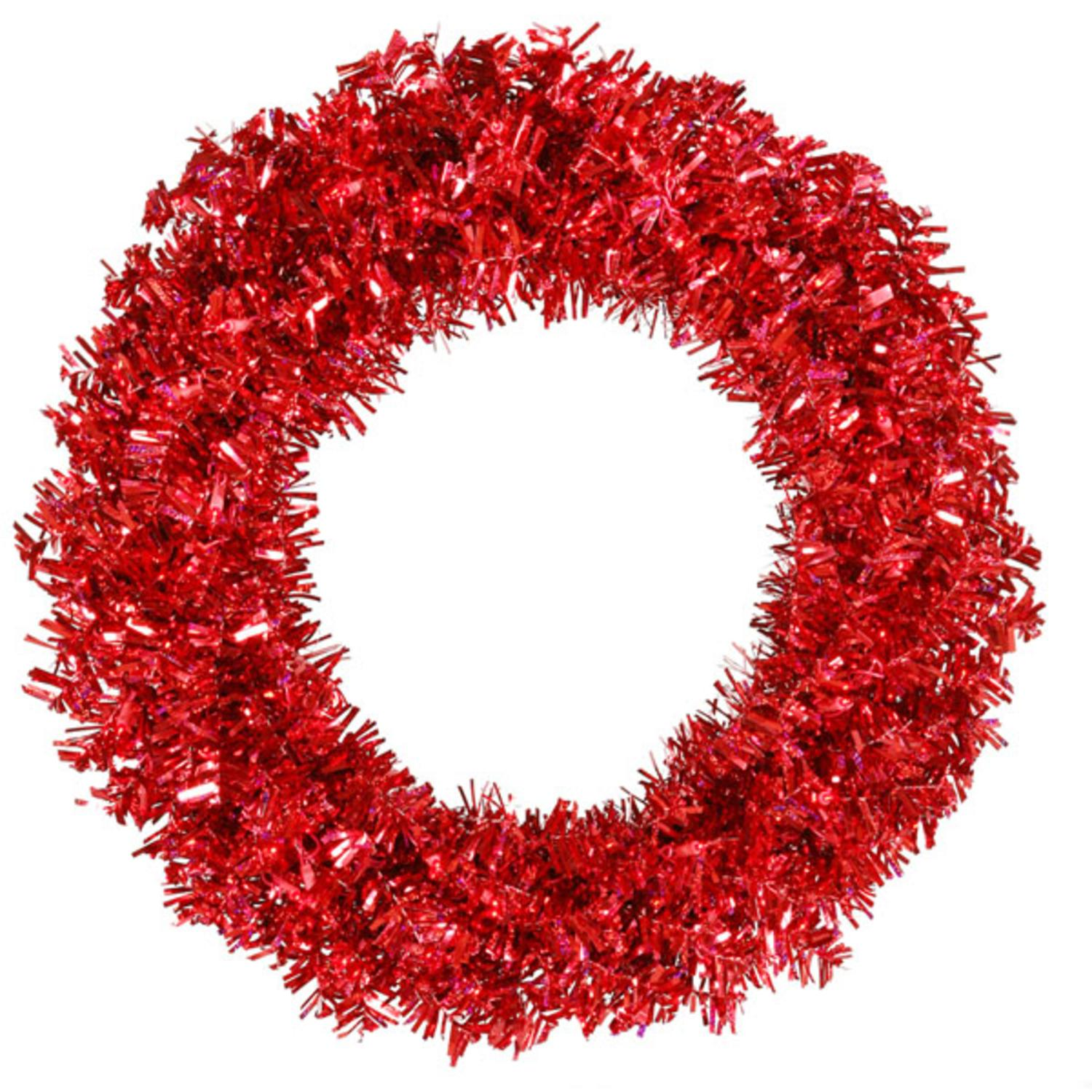 "30"" Pre-Lit Red Hot Wide Cut Tinsel Artificial Christmas Wreath - Red Lights"