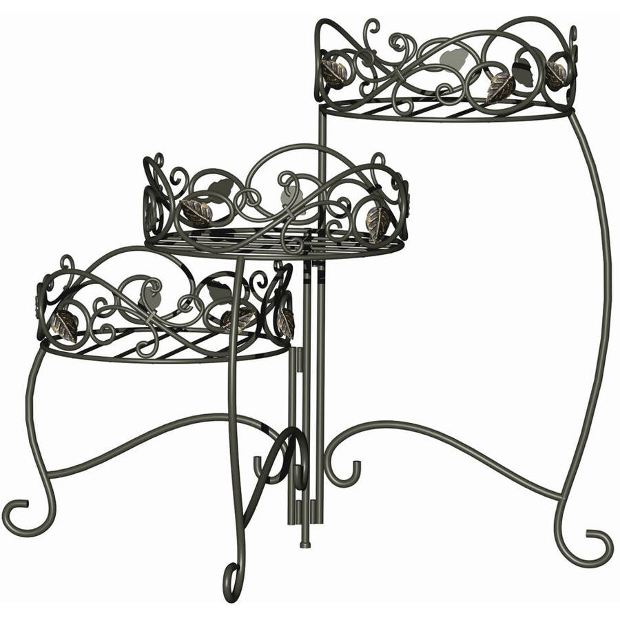 Panacea Scroll and Ivy 3-Tier Folding Plant Stand