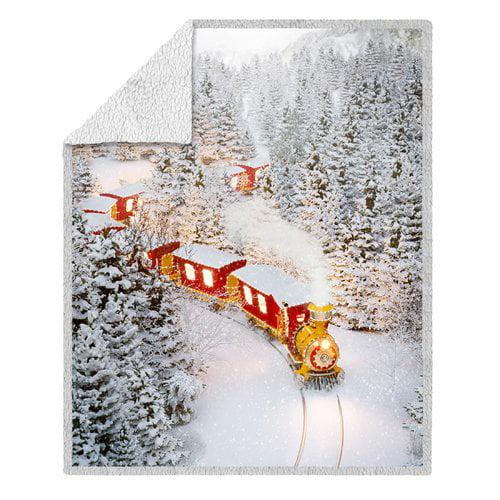 The Holiday Aisle North Christmas Photoreal Holiday Train Ultra Soft Throw