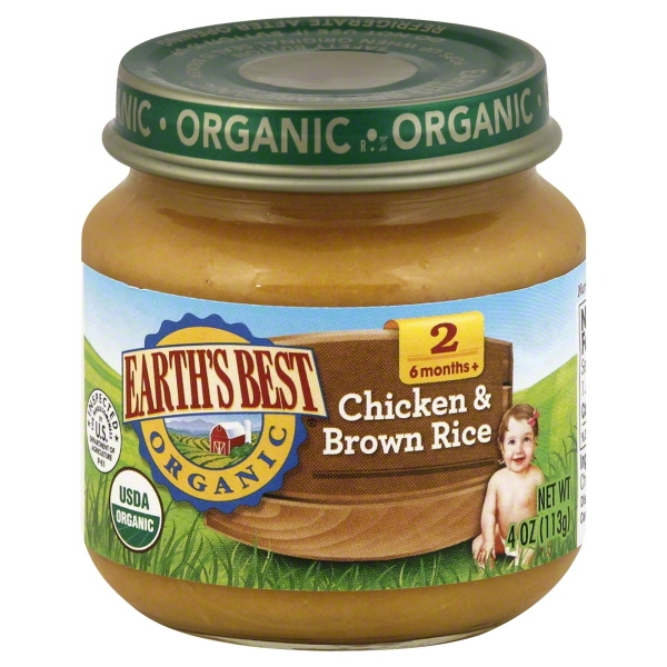 Earth's Best Organic Baby Food Chicken & Brown Rice Stage 2, 4.0 OZ, 12 Pack