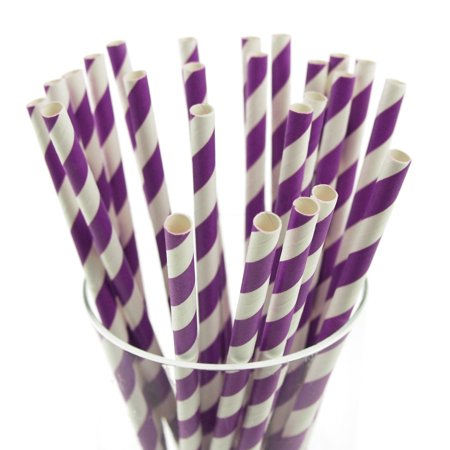 Candy Striped Paper Straws, 7-3/4-inch, - Purple And White Straws