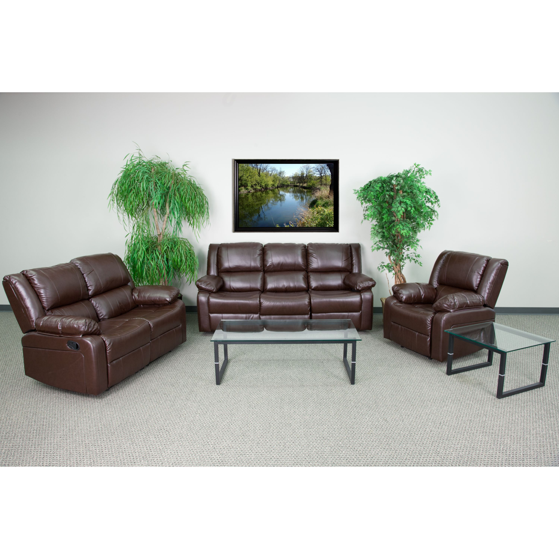 Flash Furniture Harmony Series Black Leather Reclining Sofa Set