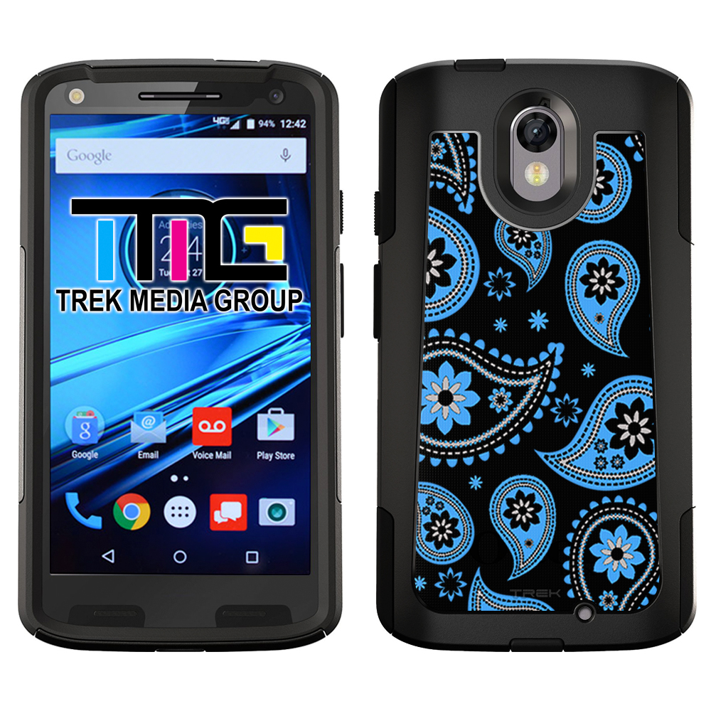 SKIN DECAL FOR OtterBox Commuter Motorola Droid Turbo 2 Case - Paisleys Cute Blue on Black DECAL, NOT A CASE