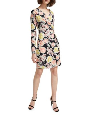 Enoshima Floral Jersey Surplice Dress
