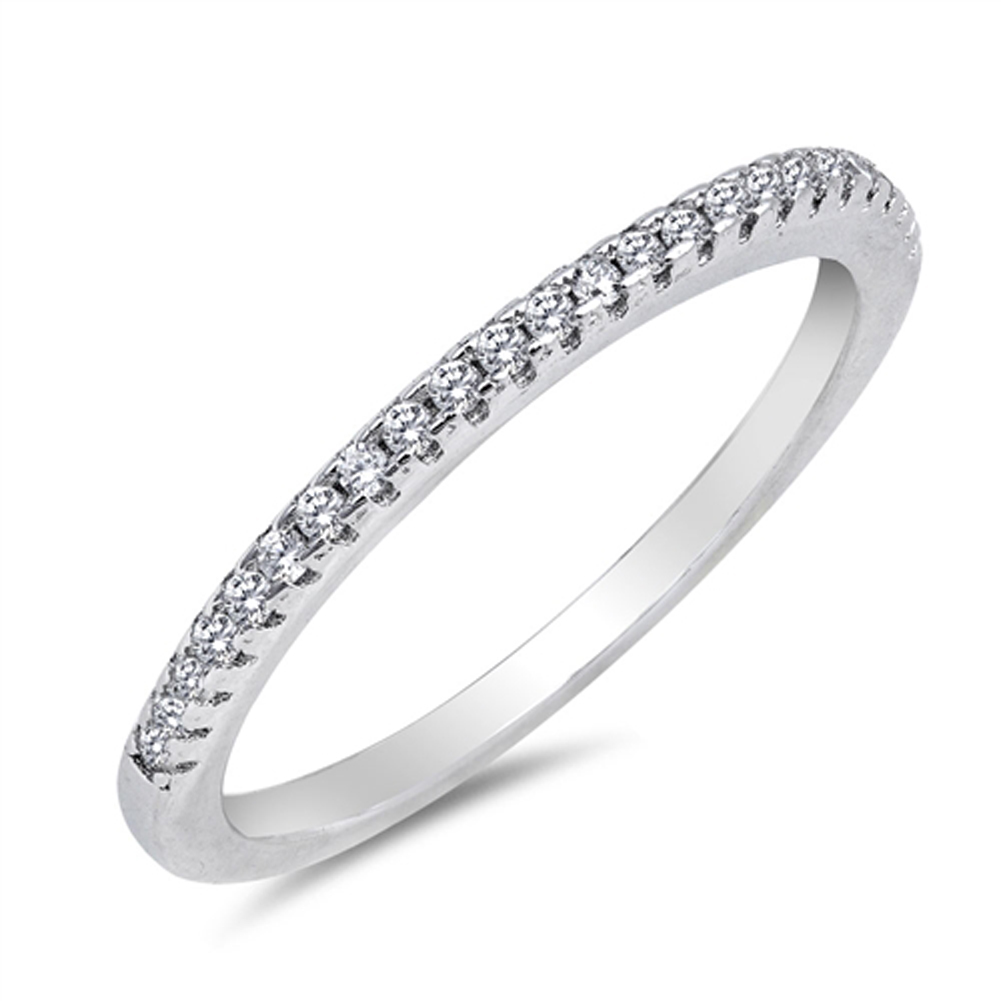 Thin Micro Pave Clear CZ Wedding Ring ( Sizes 4 5 6 7 8 9 10 ) New .925 Sterling Silver Band Rings by Sac Silver (Size 4)
