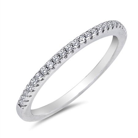 Thin Micro Pave Clear CZ Wedding Ring New .925 Sterling Silver Band Size 4 - Pave Band Platinum Ring