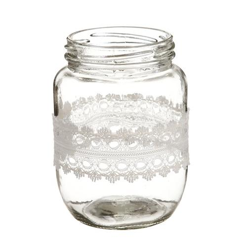 "4.5"" Decorative Clear Glass Spring Floral Vase with Lace Ribbon"
