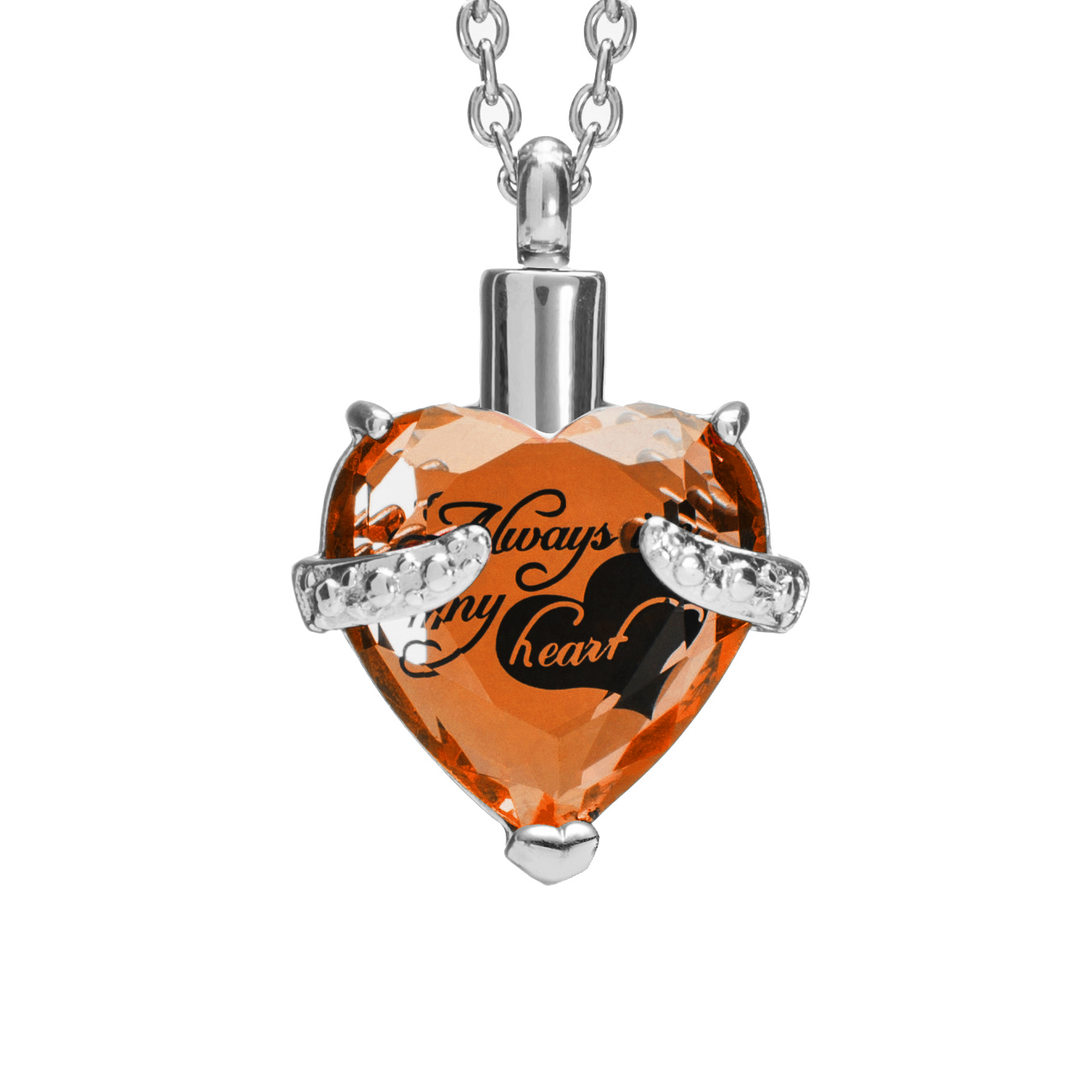 "Cremation Urn Necklace for Ashes ""With Beautiful Gift Box"" Urn Pendant Memorial Keepsake Cremation Jewelry (Orange)"