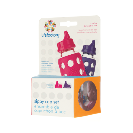 Lifefactory Sippy Caps, Raspberry Red & Royal Purple, 2 Ct