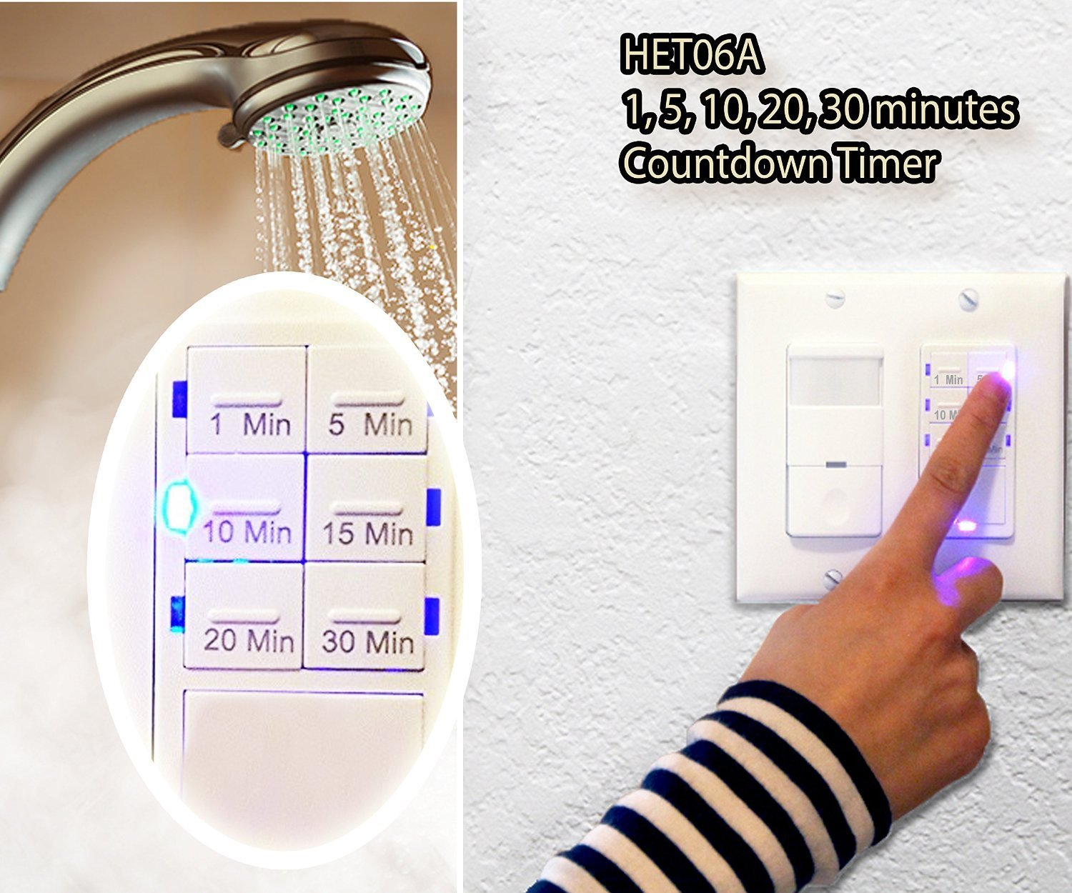 Bathroom Exhaust Fan With Timer - Enerlites het06a countdown in wall timer switch for vent fan light 1 5 10 15 20 30 min led night light neutral required white walmart com