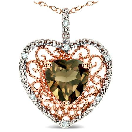 - Star K Heart Shape 8mm Genuine Smoky Quartz filigree Heart Pendant Necklace 10k Rose Gold