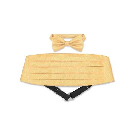 Cumberbund & BowTie Solid GOLD Color METALLIC Design Men's Cummerbund Bow Tie (Design Bow Tie Set)