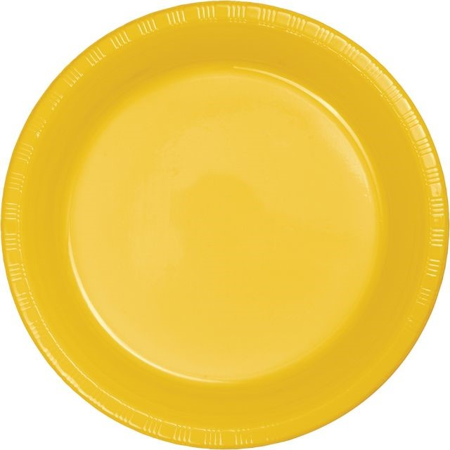 """Touch of Color Plastic Dinner Plate, 9"""", School Bus Yellow, 20 Ct"""
