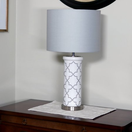 CASL Brands Indoor Table Lamp with French-Inspired Glass Cylinder Base and Fabric Lampshade, - Glass Table Lamp Base