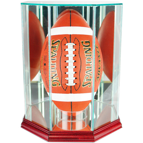 Perfect Cases Upright Octagon Football Display Case, Cherry Finish