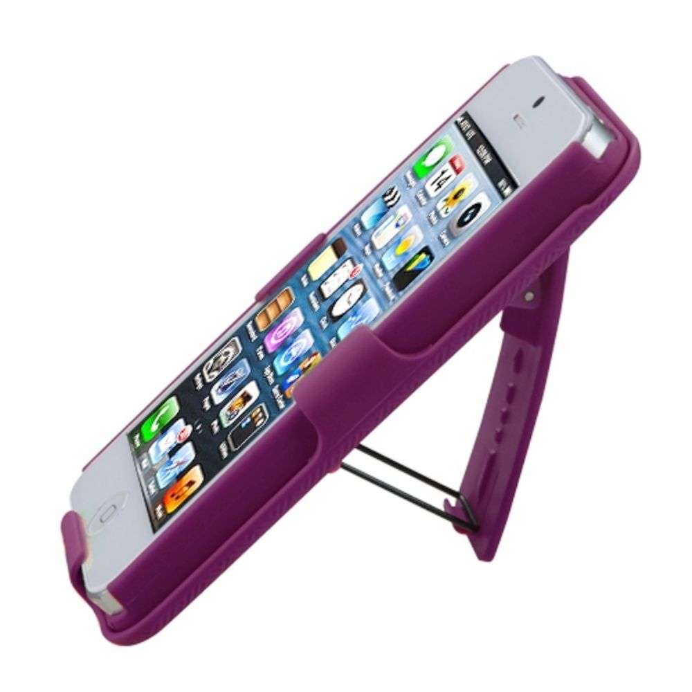 Insten Rubberized Hot Pink Hybrid Hard Shockproof Holster Case (with Stand) (with Package) For iPhone SE 5 - image 2 de 3