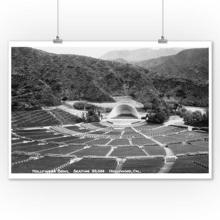 Hollywood, California - Hollywood Bowl - Vintage Photograph (9x12 Art Print, Wall Decor Travel Poster) - Vintage Hollywood Decor