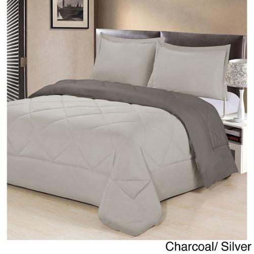 Reversible All Season  Down Alternative 3-piece Comforter Set King- Carcoal/ Silver