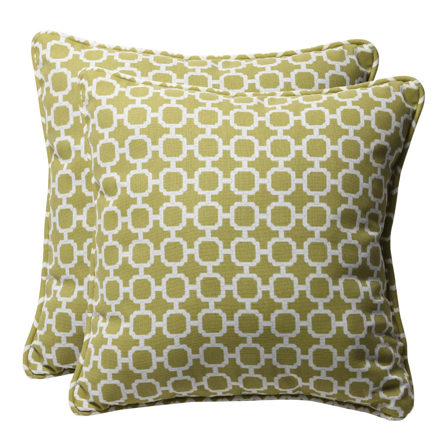 Pack of 2 Eco-Friendly Recycled Lime Mosaic Square Outdoor Throw Pillows 18.5""