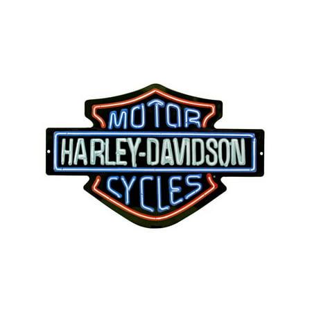 Harley-Davidson Neon Design Embossed Bar & Shield Tin Sign, 19 x 12 in 2011381, Harley Davidson