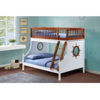 Farah Twin/Full Bunk Bed, Oak and White