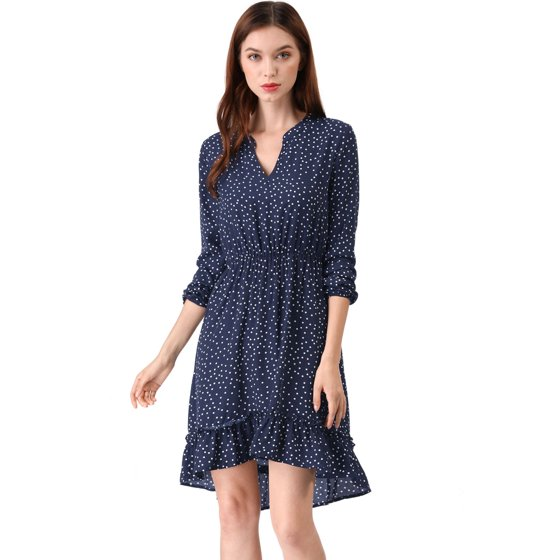 3c621a5ce1 Unique Bargains - Women s Retro V-Neck Dotted Ruffle High Low Dress ...